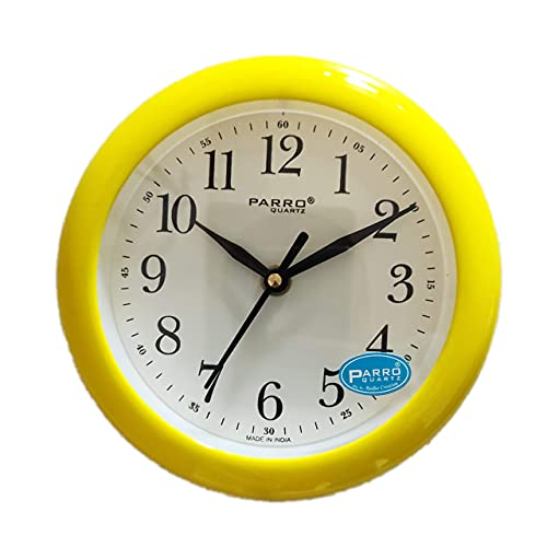 Parro Plastic Round Motion Wall Clock  Yellow, 7 Inch