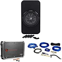 Kicker 40TCWRT84 8 TCompRT8 Sub 800W Shallow Sub Box+2 Ch. Amplifier+Amp Kit