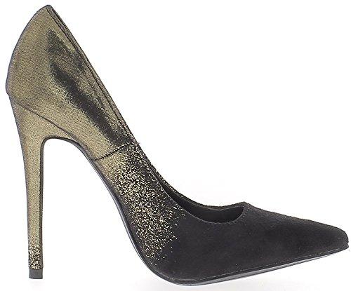 ChaussMoi Zapatos Mujer Negro y Oro Tacón Aguja 12 cm Bicolor