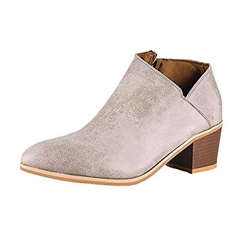 Minetom Women's Casual Ankle Booties Cut Out Slip on Low Heel Short Boots Beige 9