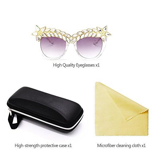 Protection Femmes chaud à Rétro Luxe 01 ZEVONDA UV400 Style Salable Lunettes Décoré Diamant Lunettes Soleil de Classique De qAOtfp