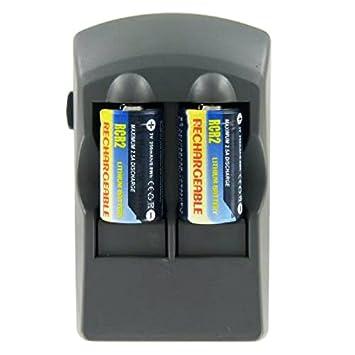 CR2 Cargador de ion de litio, CR 2 Cargador con 2 x CR2 batería ...