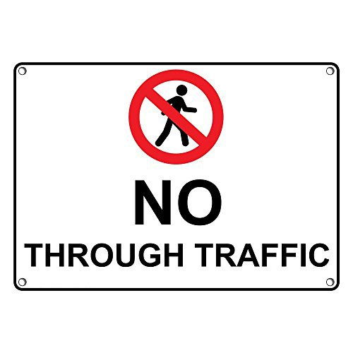 Weatherproof Plastic No Through Traffic Sign with English Text and Symbol (Sign Traffic Through)