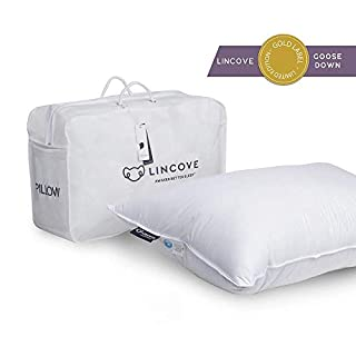 Lincove 100% Goose Down Luxury Sleeping Pillow - 800 Fill Power, 600 Thread Count Cotton Cover (King - Soft)