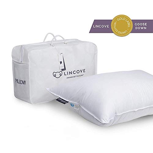 Lincove 100% Goose Down Luxury Sleeping Pillow - 800 Fill Power, 600 Thread Count Cotton Cover (Standard - Firm)
