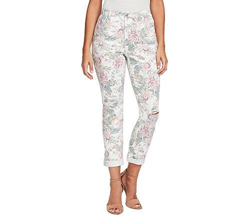 Gloria Vanderbilt Womens Amanda Ankle Roll Up, Crystal White Blossom Print 14