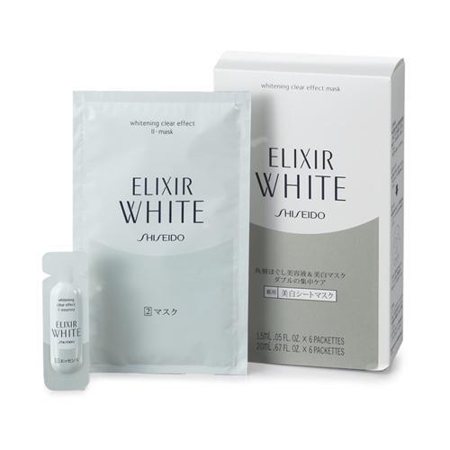 (Shiseido ELIXIR WHITE Clear Effect Whitening Essence + Whitening Mask ( 6 pieces each))