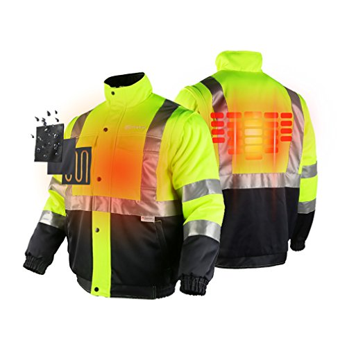 ororo Men's Heated Jacket ANSI/Isea Class 2 High Visibility Safety Bomber Jacket With Battery Pack(XL) by ororo (Image #1)