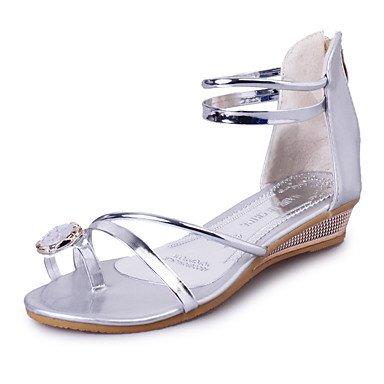 LvYuan Mujer-Tacón Plano-Zapatos del club-Sandalias-Fiesta y Noche Vestido Informal-Semicuero-Plata Oro Gold