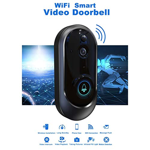Voberry 720P Smart Wifi Home Security System Doorbell Wireless Ring IR Video Phone HD Camera Chime Night Vision (Black)