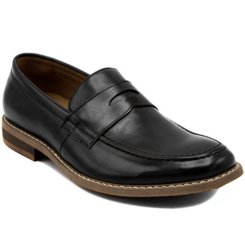 Nautica Men's Dress Shoes Slip On Oxford Moc Toe Loafer-Elias-Black Smooth-9.5