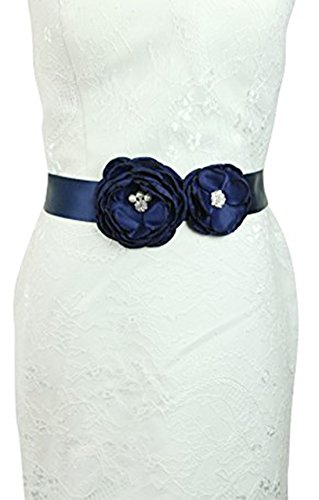 Lemandy Two Camellias Ribbon Bow Sash Flowers Wedding Belt Wedding Sashes in 6 Colors (Navy) by Lemandy
