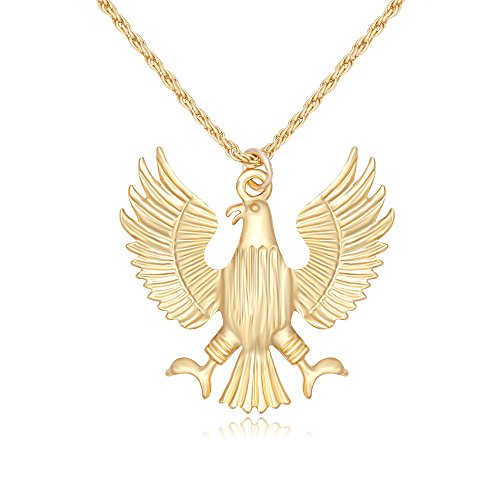 TUSHUO Simple Gold Silver Open Wings Eagle Pendant Necklace Eagles Costume Sweater Long Chain Necklace (Gold)