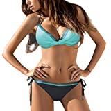WOCACHI Swimsuits for Womens, Cross Bandage Bikini Set Push-Up Brazilian Swimwear Beachwear Swimsuit