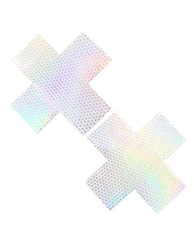 iHeartRaves Liquid Pure White Hologram Cross Rave Pasties (Set of 2 Pasties)