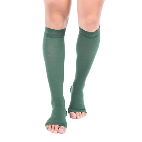 Doc Miller Premium Open Toe Compression Sleeve 1 Pair 20-30mmHg Strong Calf Support Graduated Pressure for Sports Running Muscle Recovery Shin Splints Varicose Veins (2-Pack, Dark Green, -