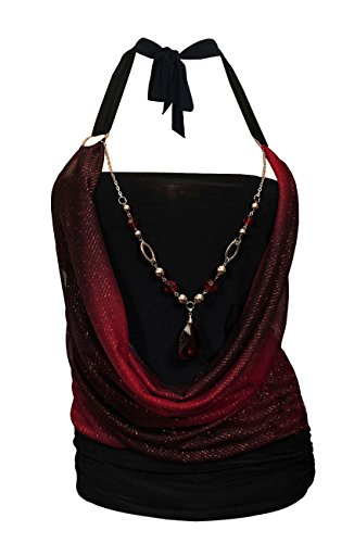 (eVogues Plus Size Glitter Print Necklace Accented O-Ring Top Red - 1X)
