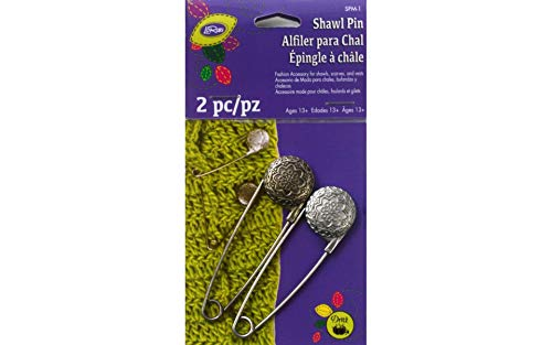 (Dritz Metal Engraved Vintage Flower Shawl Pin, Pewter and Nickel)