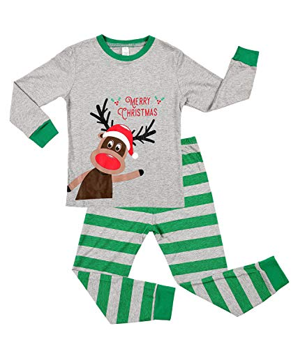 maysoul 3t Boys Long Sleeve Pajamas Kids Christmas Pjs Cotton Sleepwear Green