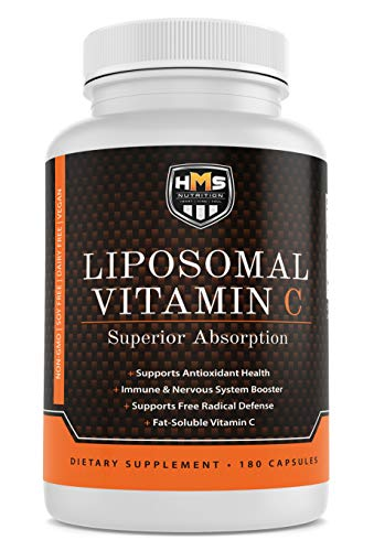Premium 1600mg Liposomal Vitamin C – HMS Nutrition – Superior Absorption Immune and Nervous System Booster Fat Soluable 180 Capsules 90 Day Supply Non-GMO Soy Dairy Gluten Free