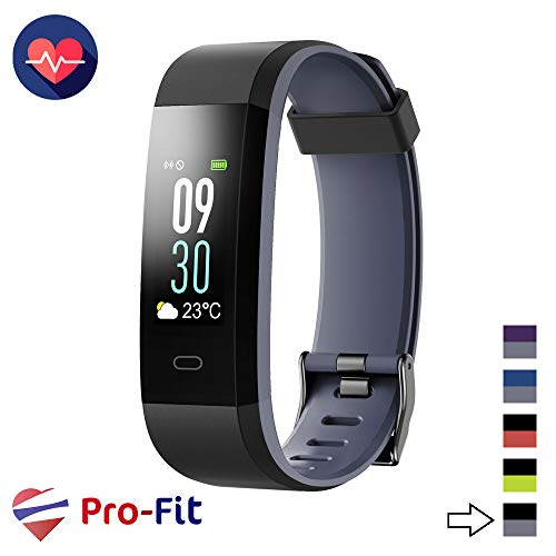 (Pro-Fit VeryFitPro Fitness Tracker Color Activity Tracker IP67 Waterproof Heart Rate Sleep Monitor (Black & Gray))