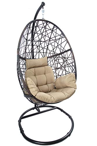 Luckyberry Egg Chair Outdoor Indoor Wicker Tear Drop Hanging Chair with Stand (White Rattan Bedroom Chair)