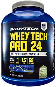 BodyTech Whey Tech Pro 24 Protein Powder Protein Enzyme Blend with BCAA s to Fuel Muscle Growth Recovery, Ideal for PostWorkout Muscle Building Chocolate Mint 5 Pound