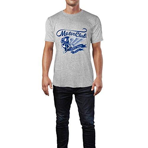 SINUS ART® Retro Biker Totenkopf Motor Club Herren T-Shirts in hellgrau Fun Shirt mit tollen Aufdruck