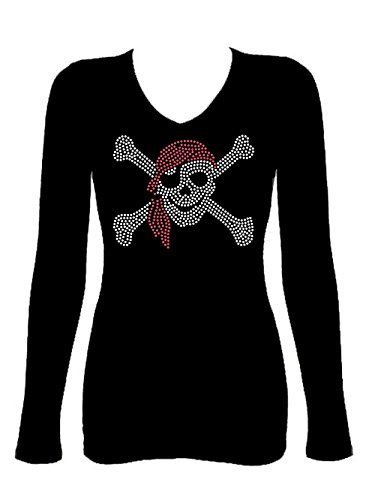 Rockeroo Boutique Pirate Skull Booty Rhinestone V Neck Long Sleeve Tee Shirt (m) - Crystal Skull T-shirt