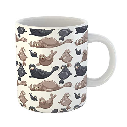 Emvency Coffee Tea Mug Gift 11 Ounces Funny Ceramic Lion Seals Sea Animal Aquatic Carnivorous Gifts For Family Friends Coworkers Boss ()