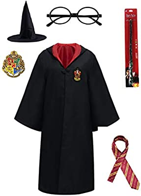 Great Adult Kids Harry Potter Robe Gryffindor Slytherin Ravenclaw Hufflepuff Cosplay Costume Cape and Tie Free Tattoo