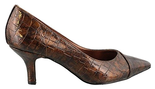 Easy Street Women's Chiffon Dress Shoes,Bronze Patent Croco,7.5 M US