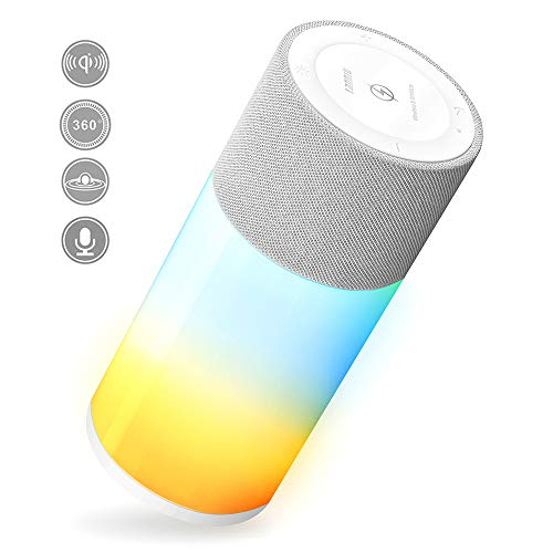 Wireless Bluetooth Speaker with Beats Light,Built in Mic& Wireless Charger,Ipx6 Waterproof,USB Connect,150Ft Bluetooth Range,Dual 5W Loud Stereo Sound Rich Bass,24H Playtime Outdoor Party Choice
