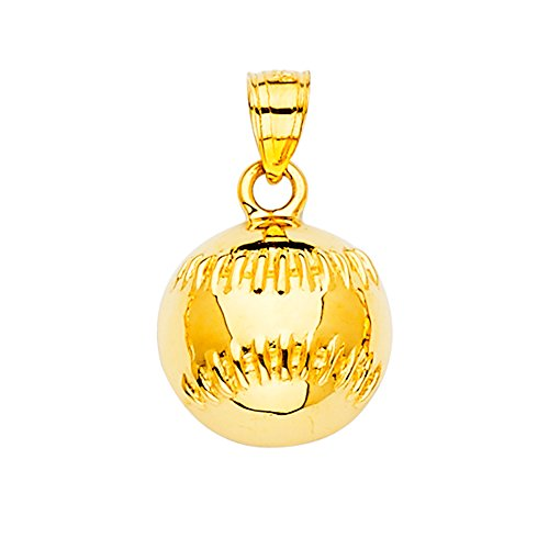 Ioka - 14K Yellow Gold Baseball Sports Charm Pendant For Necklace or Chain