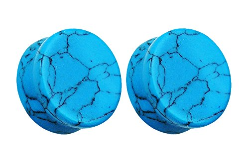 Natural Turquoise Stone Organic Double Flared Plugs - Available in Multiple Sizes - Sold as a Pair (4mm (6GA)) (Turquoise Flared Plugs)