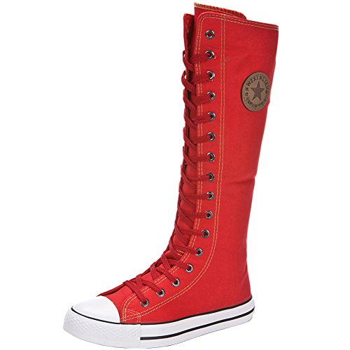 Boots Zip Shoes High Fashion Canvas Girl's Lace Sports Dancing Women's up Flat Knee Yirenhuang Red Boots wSq6Pt