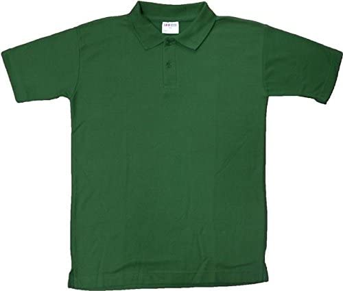 Unisex polo camiseta color verde botella para niños adultos PE ...