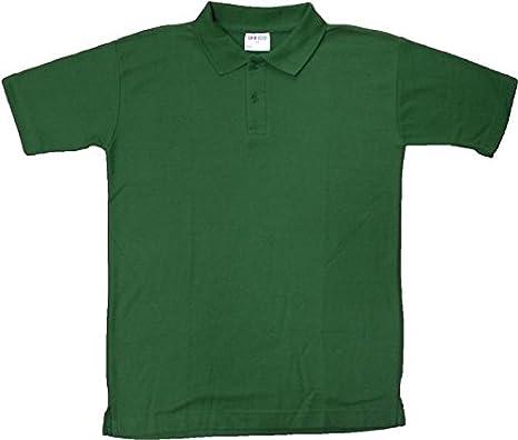 Unisex polo camiseta color verde botella para niños adultos PE ...