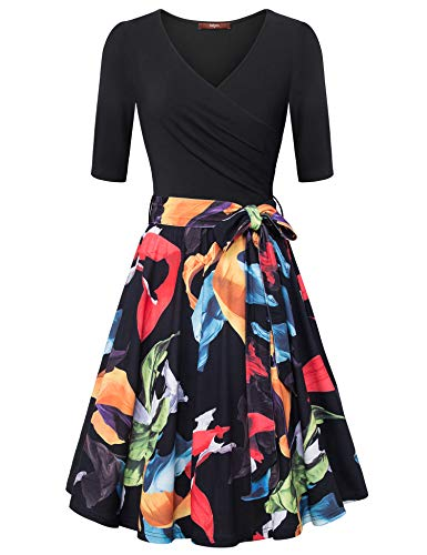 Gaharu Floral Midi Dress Women Long 3/4 Sleeve Elegant A Line Sexy V Neck Pleated Classy Stretchy Vintage Swing Dress with Belt Black Orange,L