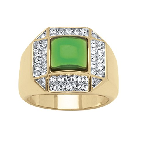 Mens Cabochon Ring Setting - Palm Beach Jewelry Men's 14K Yellow Gold-plated Square Shaped Green Simulated Crystal Cabochon Ring Size 12