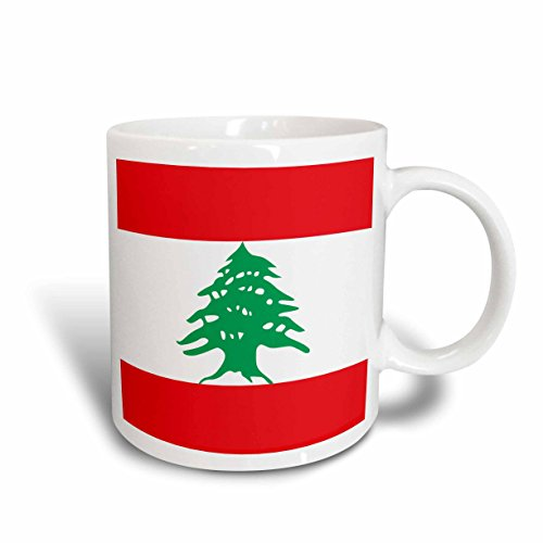 3dRose mug_158355_2 Flag of Lebanon Lebanese Red and White Stripes with Green Cedar Tree Arabic Country Arab World Ceramic Mug, 15 oz, - Lebanon Outlet