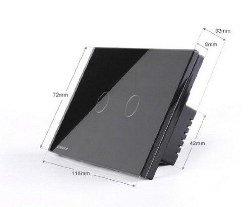 NIMTEK US/AU Standard, 2-gang 2-way, VL-C302S-82, Touch Screen Light Switch with LED indicator, Black Crystal Glass Panel by NIMTEK (Image #2)