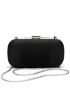 Women Clutch Purse Wallet Hard Case Satin Evening Bag Handbag With Chain Strap