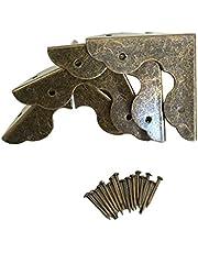 4pcs Vintage Antique Brass Wood Box Bracket Case Chest Corner Protector Guard Decoration