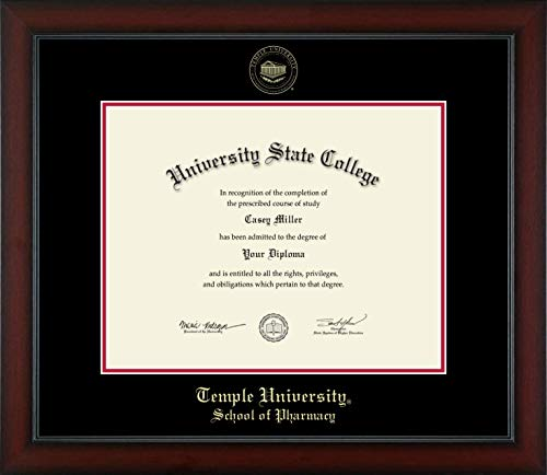 Temple University School of Pharmacy - Officially Licensed - Gold Embossed Diploma Frame - Diploma Size 14