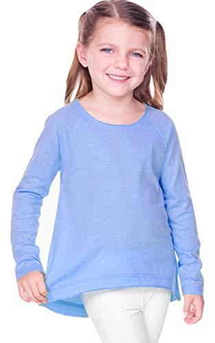 Long Jersey Tee Sleeve Sheer (Kavio Girls 3-6X Sheer Jersey Raw Edge Raglan High Low Long Sleeve, Azure, 6X)