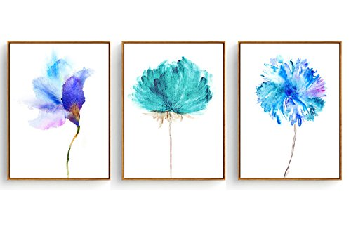 Hepix Canvas Wall Art Blue Dandelion Flowers Oil Painting Blue Flowers Print Wall Paintings Abstract Watercolor Wall Artwork with Wooden Frame for Home Decor 13x17inch (3PCS ()