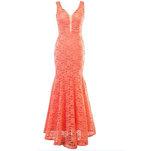 Super Rabbit Women Sleeveless Evening Gowns Fishtail Maxi Prom V Neck Backless ()