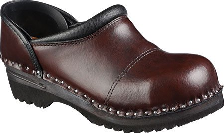 Troentorp Womens Båstad Steel Toe Picasso Leather Clogs Black Cherry faOMEFJq