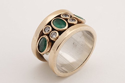 Special Design Turkish Handcrafted Jewelry Oval Cut Emerald Round Shape Topaz 925 Sterling Silver Band Ring Size Option